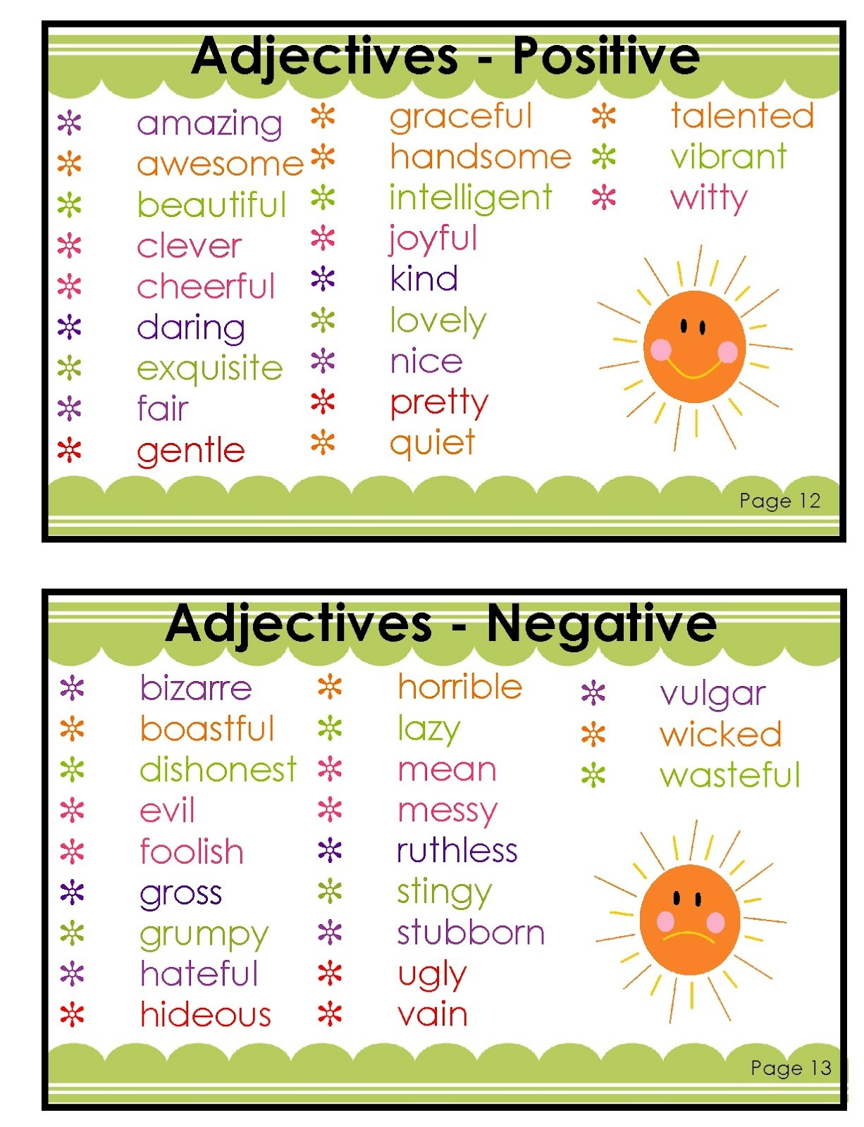 negative adjectives to describe people eage tutor adjective negative