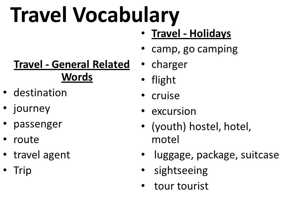 vocabs related to travel destination eage tutor