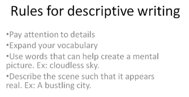 Rules for Descriptive Writing